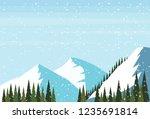 winter snowy mountain hill fir... | Shutterstock .eps vector #1235691814
