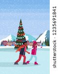 couple skating ice rink... | Shutterstock .eps vector #1235691841