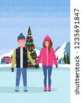 couple skaters standing ice... | Shutterstock .eps vector #1235691847