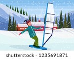 man windboarding windsurfing on ... | Shutterstock .eps vector #1235691871