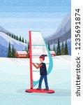 man windboarding windsurfing on ... | Shutterstock .eps vector #1235691874