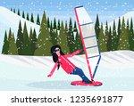 woman windboarder windsurfing... | Shutterstock .eps vector #1235691877