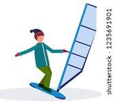 man windboarder holding sail... | Shutterstock .eps vector #1235691901
