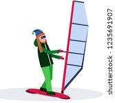 woman windboarder holding sail... | Shutterstock .eps vector #1235691907
