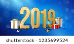 2019 happy new year background  ... | Shutterstock .eps vector #1235699524