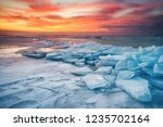 winter landscape on seashore... | Shutterstock . vector #1235702164