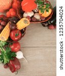 frame of fresh vegetables on a...   Shutterstock . vector #1235704024