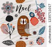 noel card  winter print design.   Shutterstock .eps vector #1235711017