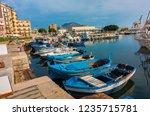 sicilian palermo marina fishing ... | Shutterstock . vector #1235715781