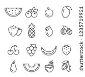 fresh fruits line icons. black... | Shutterstock .eps vector #1235719921