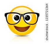 happy nerd emoji on white... | Shutterstock .eps vector #1235721364