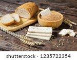 wheat bran  bran bread and dry... | Shutterstock . vector #1235722354