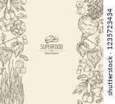 background with super food ... | Shutterstock .eps vector #1235723434