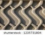 bulldozer tracks in beach sand   Shutterstock . vector #1235731804