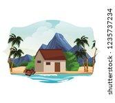 house on beach | Shutterstock .eps vector #1235737234