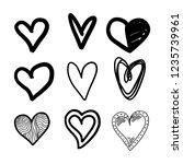 set of nine hand drawn heart.... | Shutterstock .eps vector #1235739961