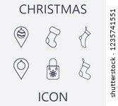 outline 6 christmas icon set... | Shutterstock .eps vector #1235741551