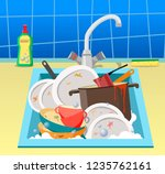 sink with dirty dishes. flat... | Shutterstock .eps vector #1235762161