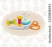 needlework. background for... | Shutterstock .eps vector #1235808391