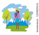 woman travel nature mountains...   Shutterstock .eps vector #1235820121