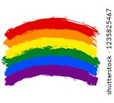 lgbt flag painted with brush... | Shutterstock .eps vector #1235825467