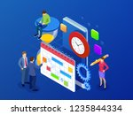 isometric weekly schedule and... | Shutterstock .eps vector #1235844334