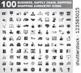 100 business  supply chain ... | Shutterstock .eps vector #123585025