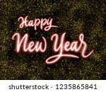 happy new year 2019 handwriting ... | Shutterstock . vector #1235865841