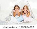 girlish leisure. sisters... | Shutterstock . vector #1235874337