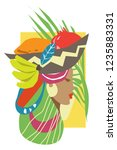 vector collage of woman and... | Shutterstock .eps vector #1235883331