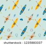 seamless pattern with canoe ... | Shutterstock .eps vector #1235883337