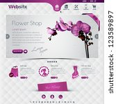 website template for flower... | Shutterstock .eps vector #123589897