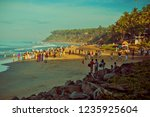 view of varkala beach and palm... | Shutterstock . vector #1235925604
