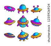 cartoon flying saucers hand... | Shutterstock .eps vector #1235926924