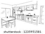 perspective kitchen sketch... | Shutterstock .eps vector #1235951581