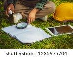 happy little kid learning... | Shutterstock . vector #1235975704