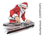 santa claus dj music | Shutterstock .eps vector #1235991091