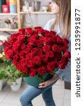 Stock photo big luxury bright bouquet in the hands of a cute girl one hundred of garden red roses color 1235991877