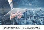 double exposure businessman...   Shutterstock . vector #1236010951