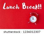 creative flat lay vintage clock ... | Shutterstock . vector #1236012307