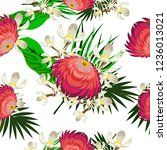 tropical flower seamless vector ... | Shutterstock .eps vector #1236013021