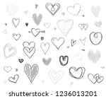 hand drawn multicolored hearts... | Shutterstock .eps vector #1236013201