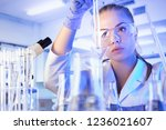 science concept. female... | Shutterstock . vector #1236021607