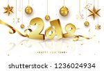 3d golden text 2019 with shiny... | Shutterstock .eps vector #1236024934
