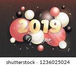 3d text 2019 on brown texture... | Shutterstock .eps vector #1236025024