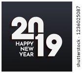 stylish text 2019 on black... | Shutterstock .eps vector #1236025087