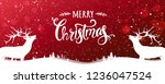 christmas deer with merry... | Shutterstock .eps vector #1236047524