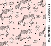 cute unicorn seamless clouds... | Shutterstock .eps vector #1236050191