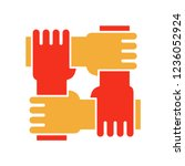 4 hands holding eachother.... | Shutterstock .eps vector #1236052924