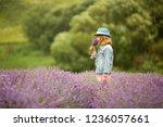 beautiful girl in a lavender... | Shutterstock . vector #1236057661
